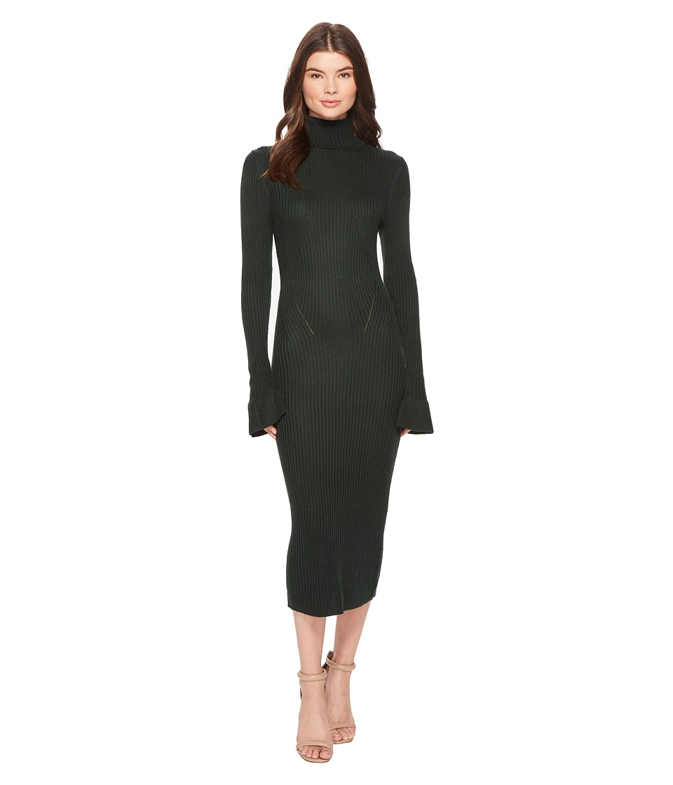 CATHERINE Catherine Malandrino Ribbed Turtleneck Ruffle Sleeve Dress (Sycamore) Women