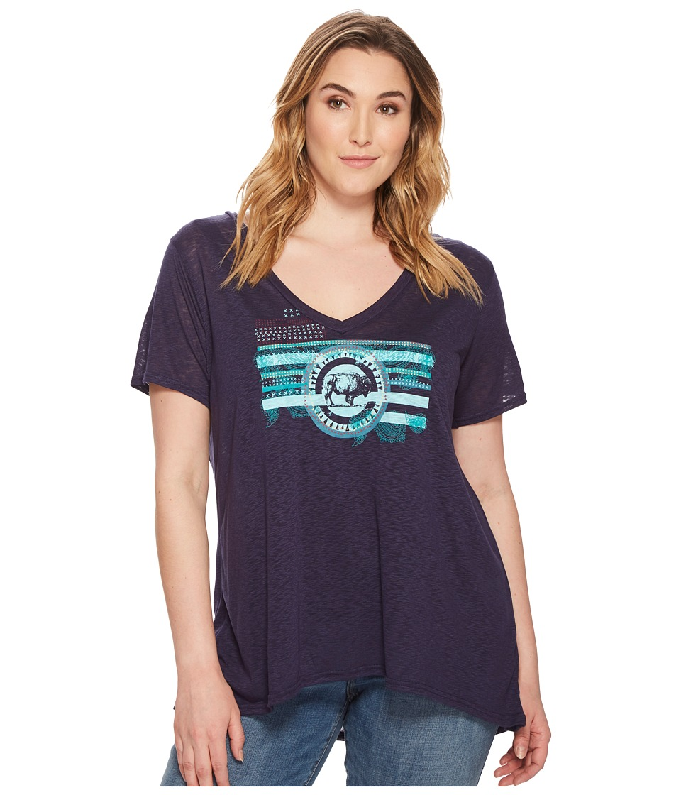 Roper - Plus Size 1563 Rayon Jersey V-Neck Top (Blue) Womens Clothing