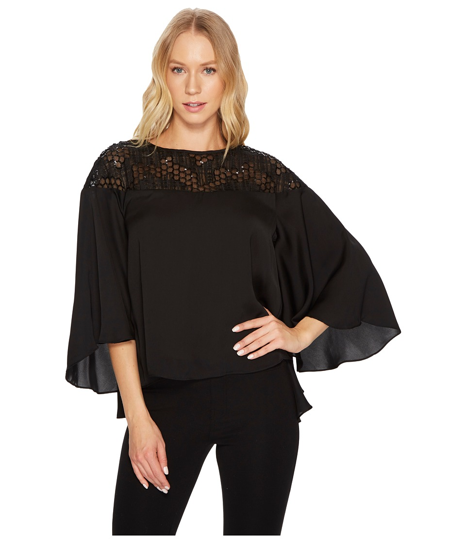 CATHERINE Catherine Malandrino - 3/4 Flared Sleeve Scoop Neck Top w/ Lace Yoke (Black Beauty) Womens Long Sleeve Pullover