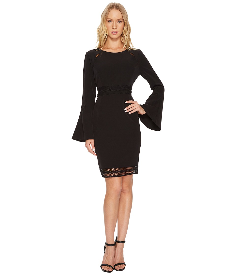 CATHERINE Catherine Malandrino - Scoop Neck Faggoting Insert Long Sleeve Flare Dress (Black Beauty) Womens Dress