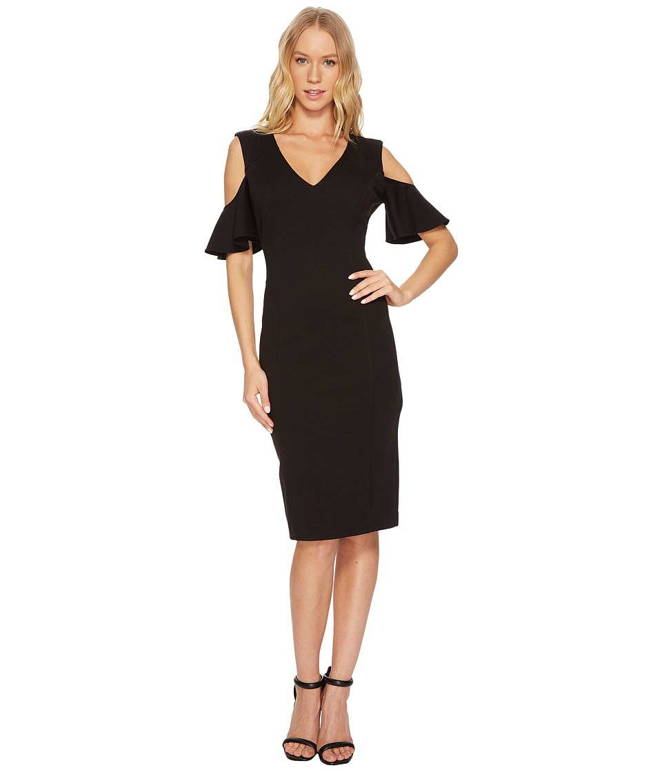 CATHERINE Catherine Malandrino - Ruffle Sleeve Bodycon Dress (Black Beauty) Womens Dress