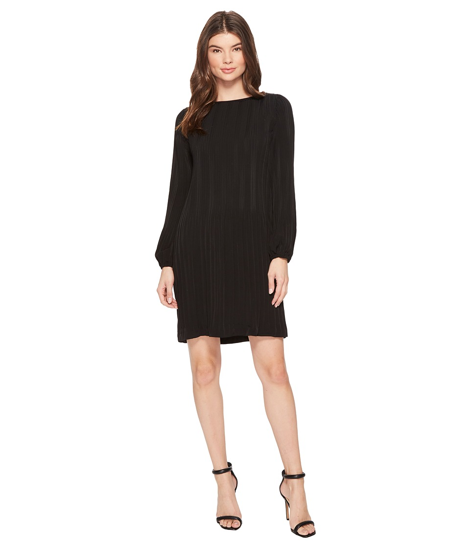 CATHERINE Catherine Malandrino Long Sleeve Pleated A-Line Dress (Black Beauty) Women