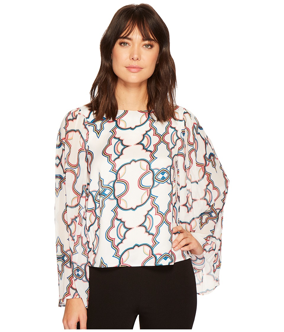 CATHERINE Catherine Malandrino - Scoop Neck Top w/ Pleated Bell Sleeve (Kaleidoscope White) Womens Long Sleeve Pullover