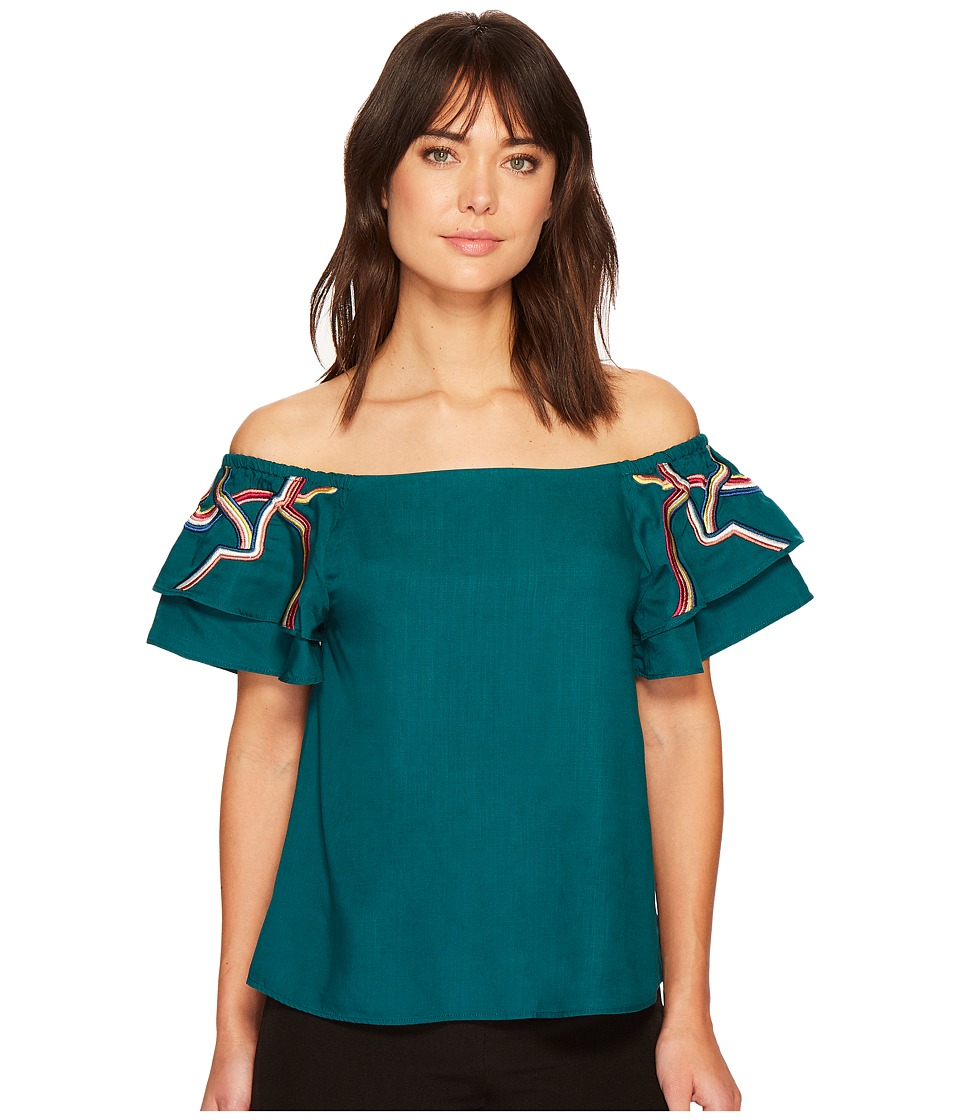 CATHERINE Catherine Malandrino - Double Tiered Short Sleeve Off the Shoulder Top (Deep Teal) Womens Long Sleeve Pullover