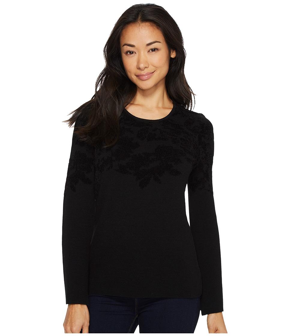 Ellen Tracy - Flared Sleeve Flocked Sweater