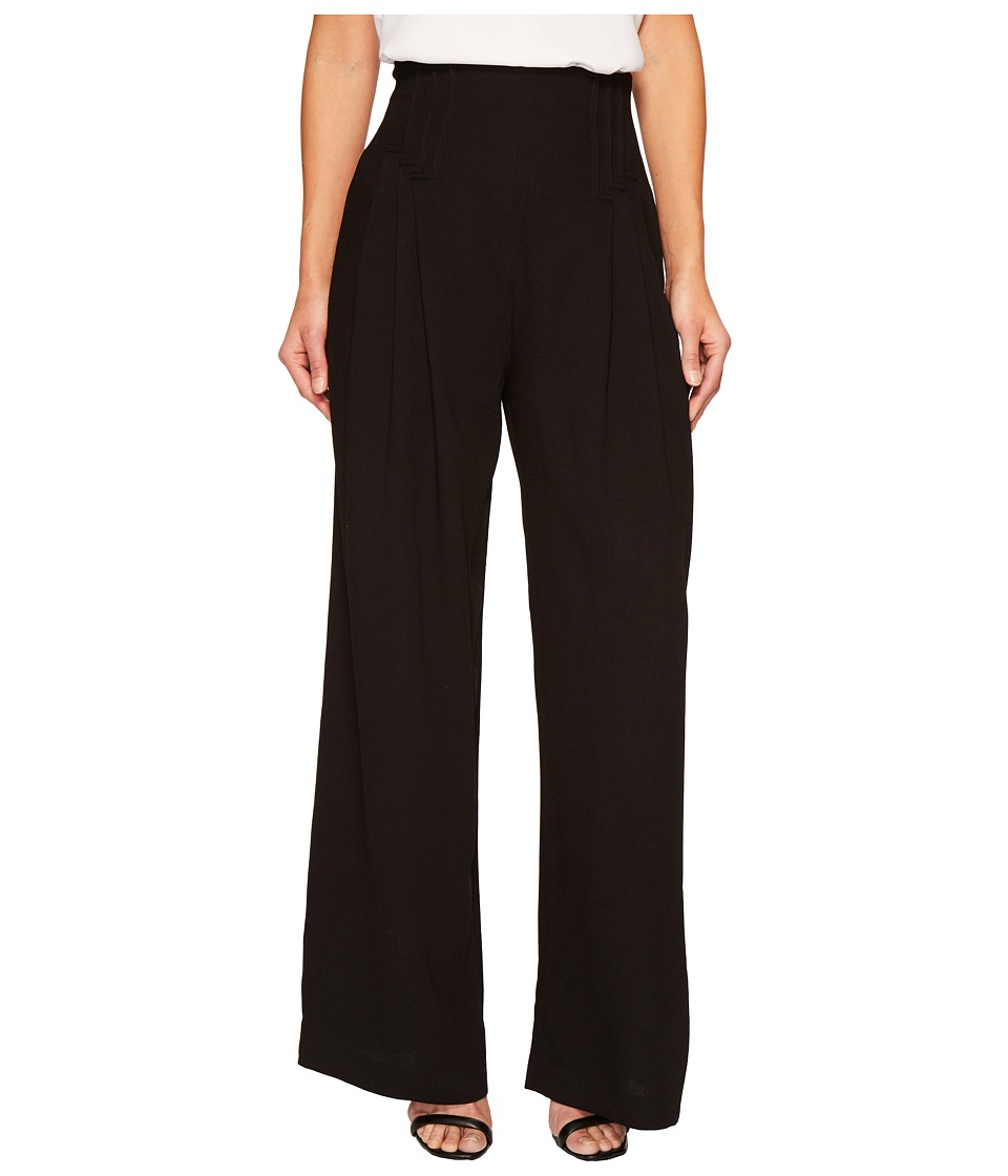 CATHERINE Catherine Malandrino - Deco Pleated Wide Leg Trousers (Black Beauty) Womens Casual Pants