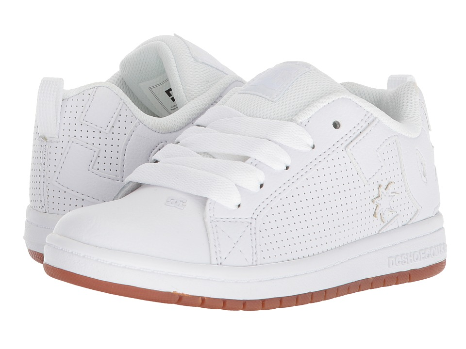 DC Kids - Court Graffik (Little Kid/Big Kid) (White/White/Gum) Boys Shoes