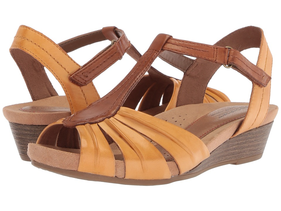 Rockport Cobb Hill Collection Cobb Hill Hollywood Pleat T (Amber Yellow Leather) Women's Shoes