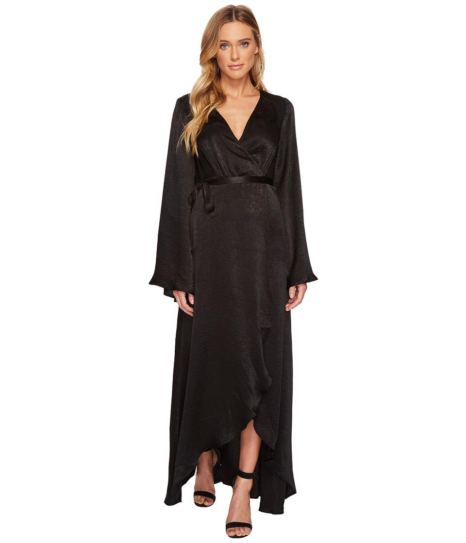 Show Me Your Mumu Anita Wrap Dress (Black Silky Satin) Women