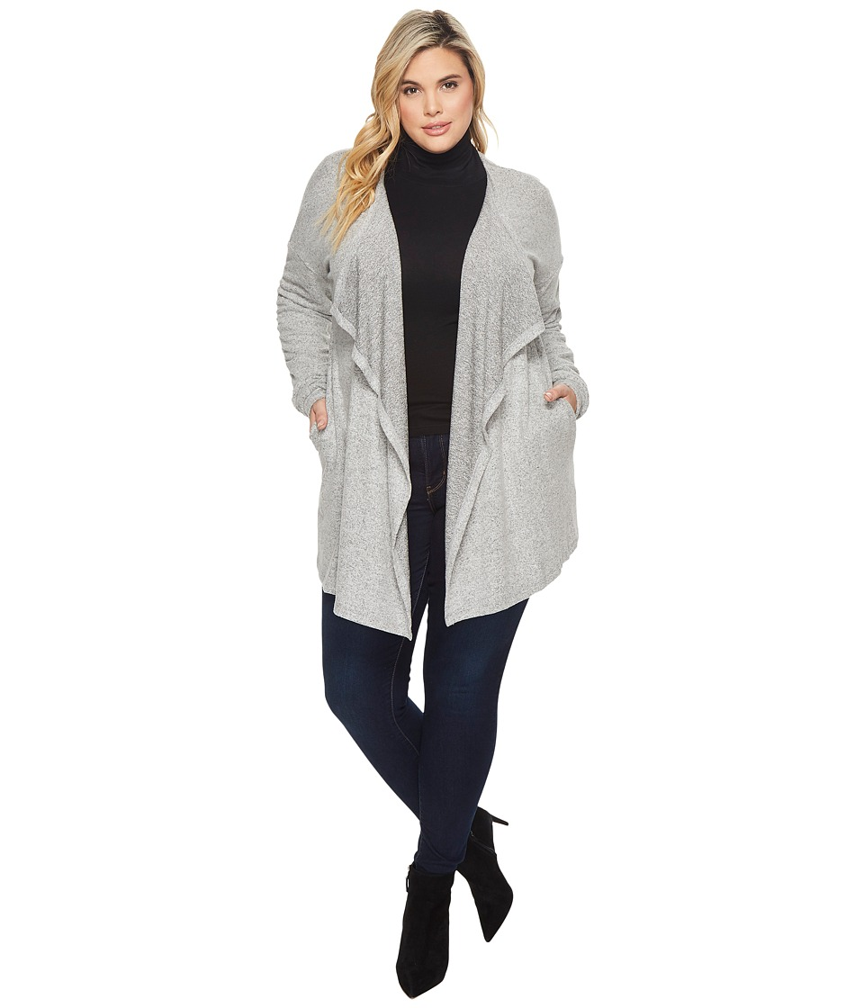 B Collection by Bobeau Plus Size Delanie Rouched Sleeve Cardigan (Heather Grey) Women