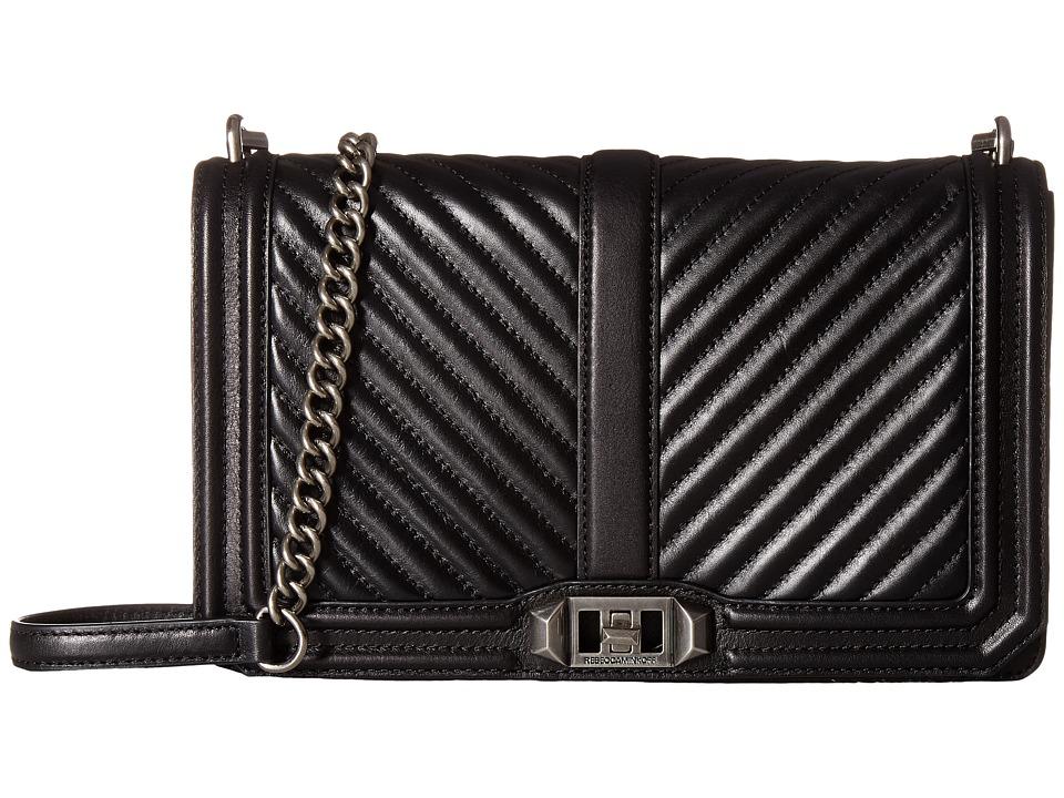 Rebecca Minkoff - Chevron Quilted Slim Love Crossbody (Black) Cross Body Handbags