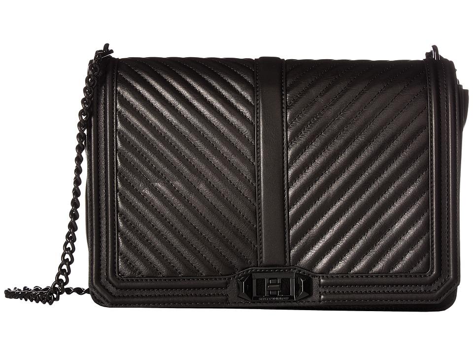 Rebecca Minkoff - Chevron Quilted Jumbo Love Crossbody (Black) Cross Body Handbags