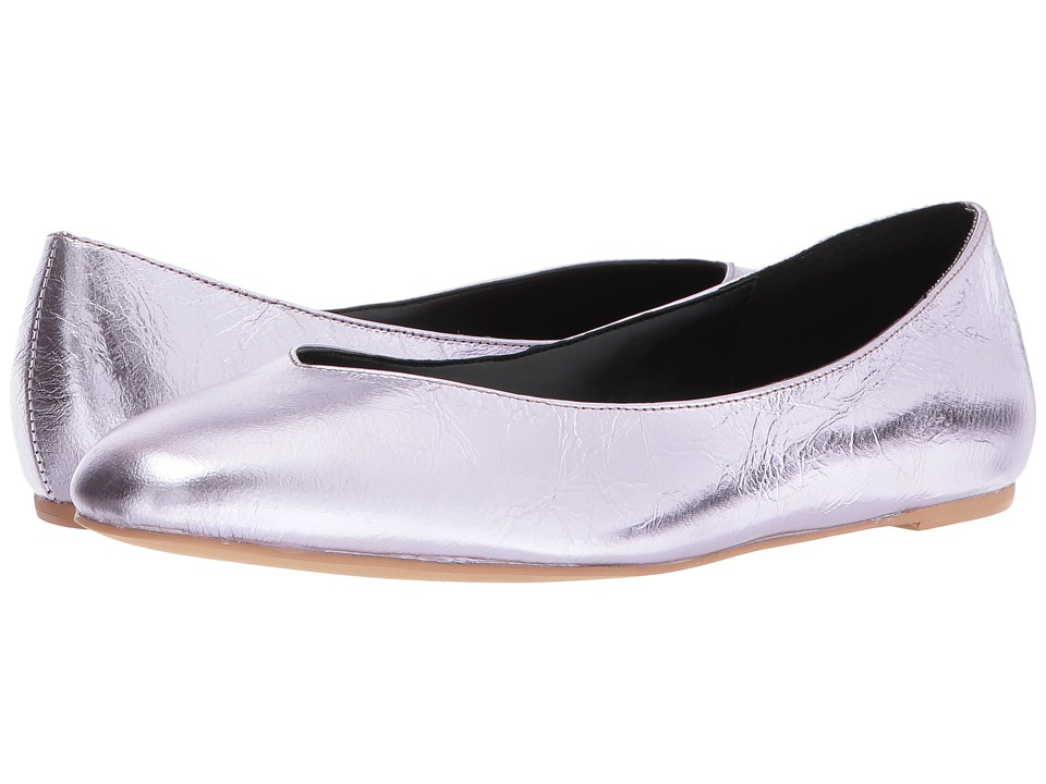Retro Vintage Flats and Low Heel Shoes Rebecca Minkoff - Viera Pale Lilac Distressed Metallic Leather Womens Dress Flat Shoes $98.00 AT vintagedancer.com