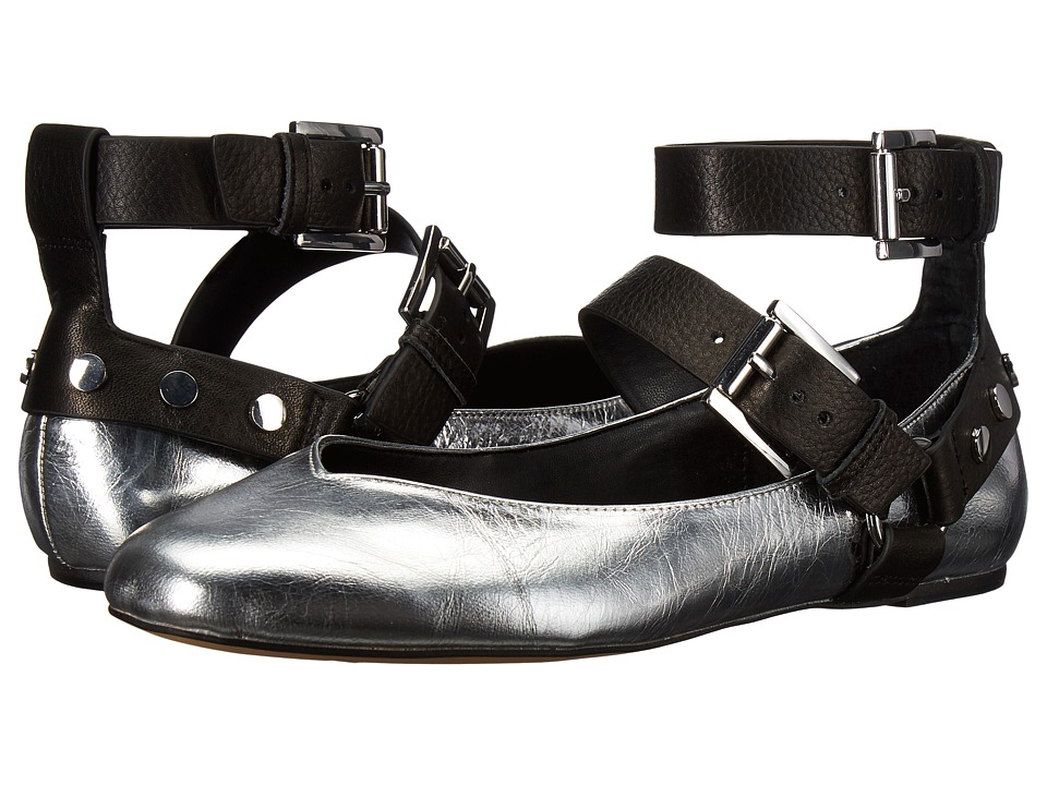 Rebecca Minkoff - Vivica (SilverBlack Distressed Metallic LeatherLamba) Womens Flat Shoes