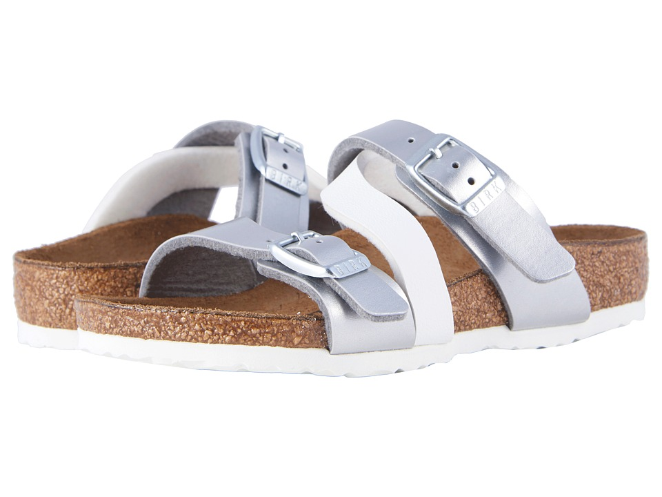 Birkenstock Kids - Salina (Toddler/Little Kid/Big Kid) (Silver White Birko-Flor) Girls Shoes