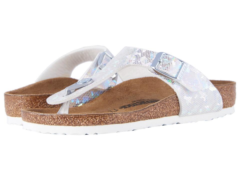 Birkenstock Kids - Gizeh (Little Kid/Big Kid) (Hologram Silver Birko-Flor) Girls Shoes