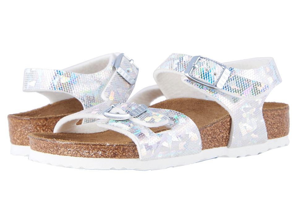 Birkenstock Kids - Rio (Toddler/Little Kid/Big Kid) (Hologram Silver Birko-Flor) Girls Shoes