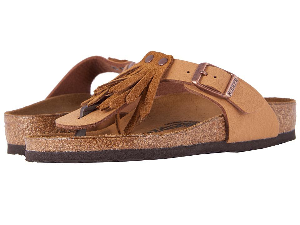Birkenstock Kids - Gizeh Fringes (Little Kid/Big Kid) (Brown Birko-Flor/Suede) Girls Shoes
