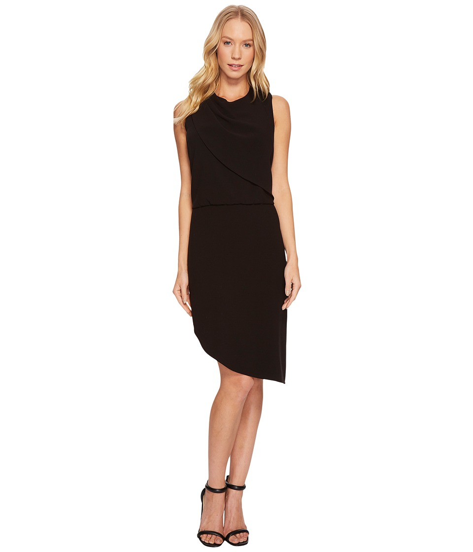 Halston Heritage Sleeveless Round Neck Drape Front Dress (Black) Women