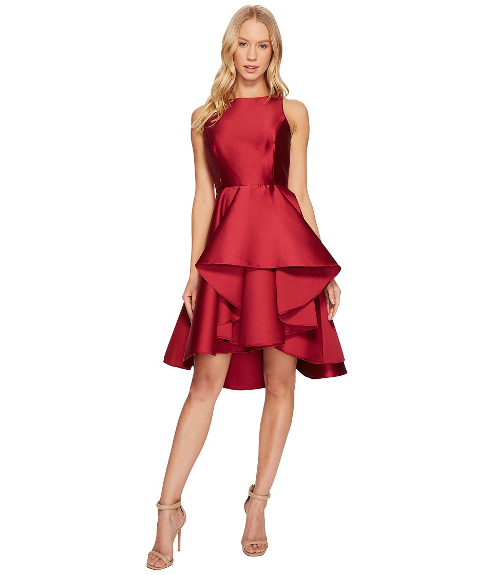 Halston Heritage Sleeveless Boat Neck Dress w/ Dramatic Skirt (Crimson) Women