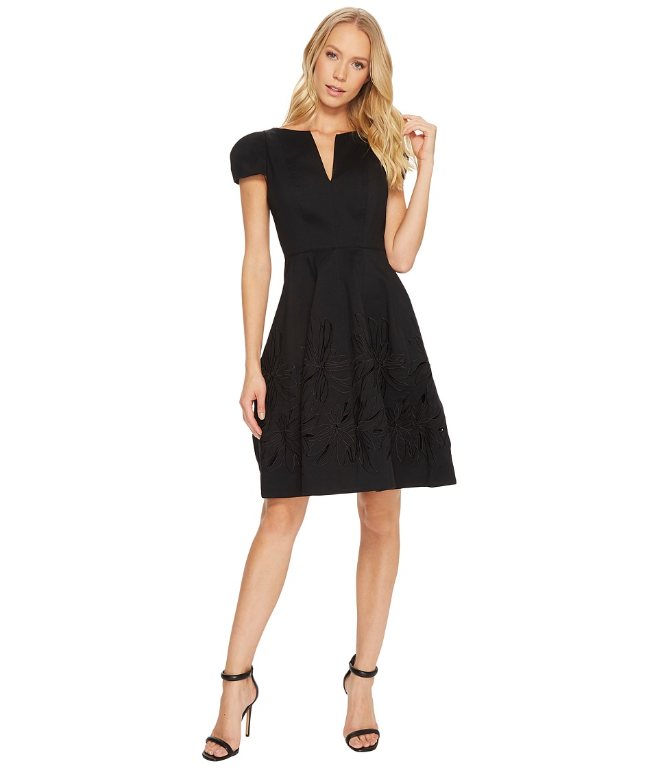 Halston Heritage Short Sleeve Notch Neck Dress w/ Embellished Skirt (Black) Women