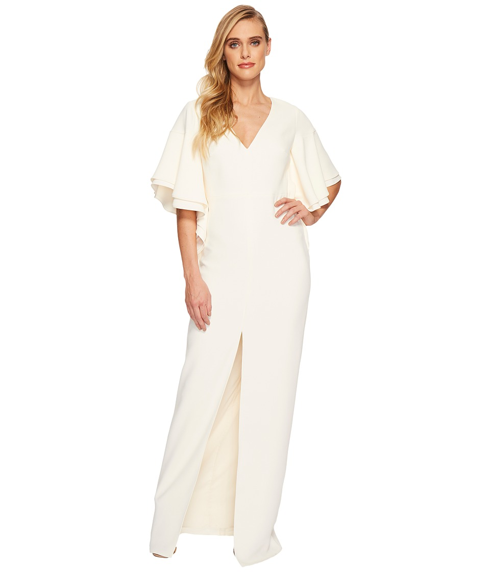 Halston Heritage V-Neck Gown w/ Flounce Sleeve (Cream) Women