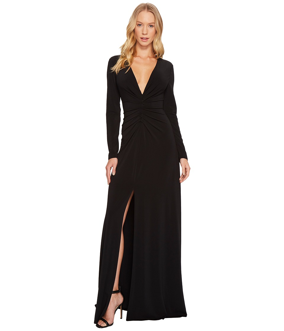 Halston Heritage Long Sleeve V-Neck Rouched Front Gown (Black) Women