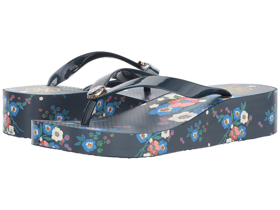 Tory Burch Wedge Flip-Flop (Pansy Bouquet) Women