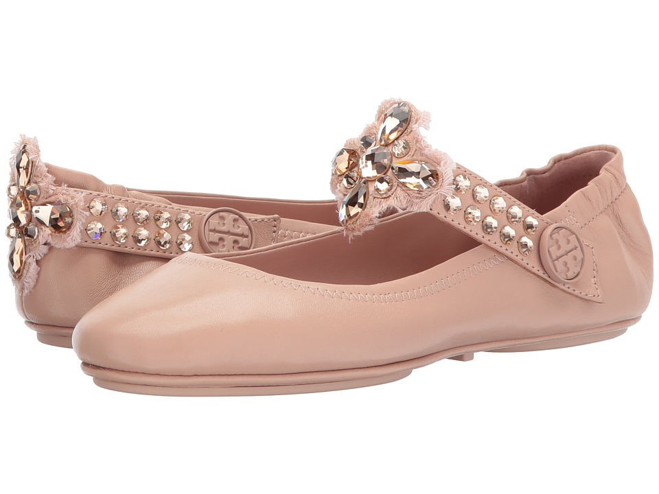Tory Burch Minnie Two-Way Embellished Ballet (Warm Blush) Women