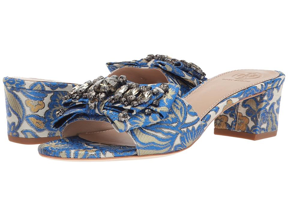Tory Burch - Valentina 45mm Bow Slide (Metallic Floral) Women's Dress Sandals