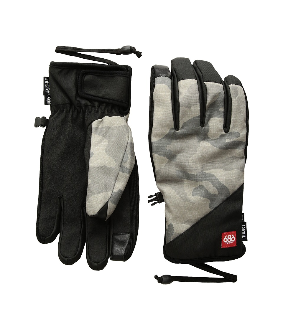 686 Ruckus Pipe Gloves (Grey Camo Print) Extreme Cold Weather Gloves