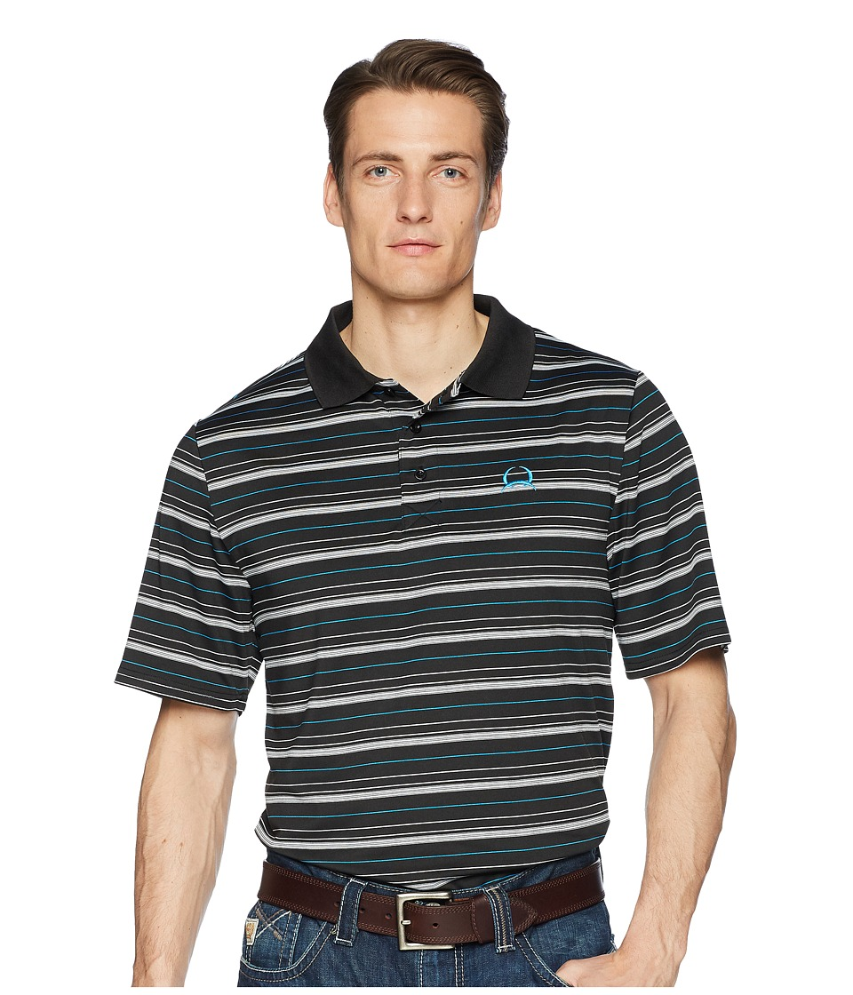CINCH Athletic Tech Polo Striped (Black) Men's Clothing