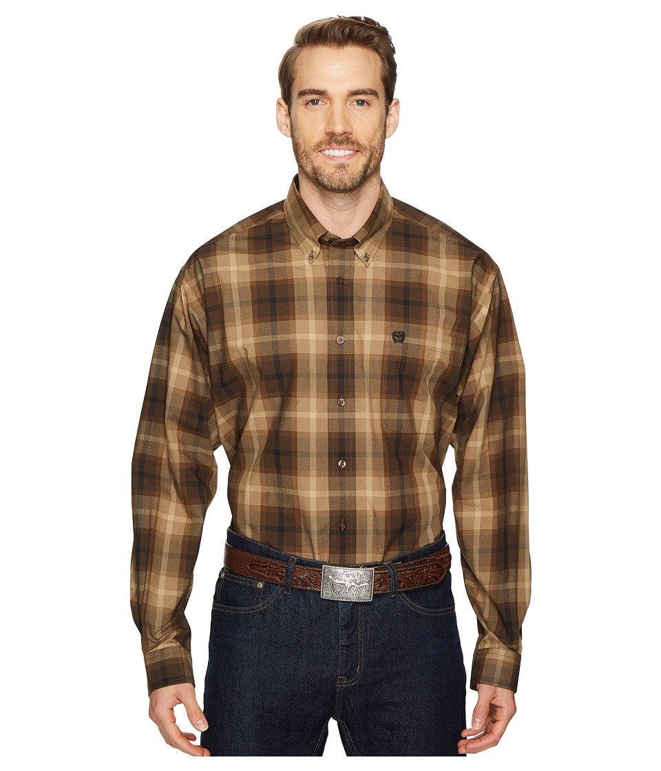 Cinch - Long Sleeve Plain Weave Plaid (Brown) Mens Clothing