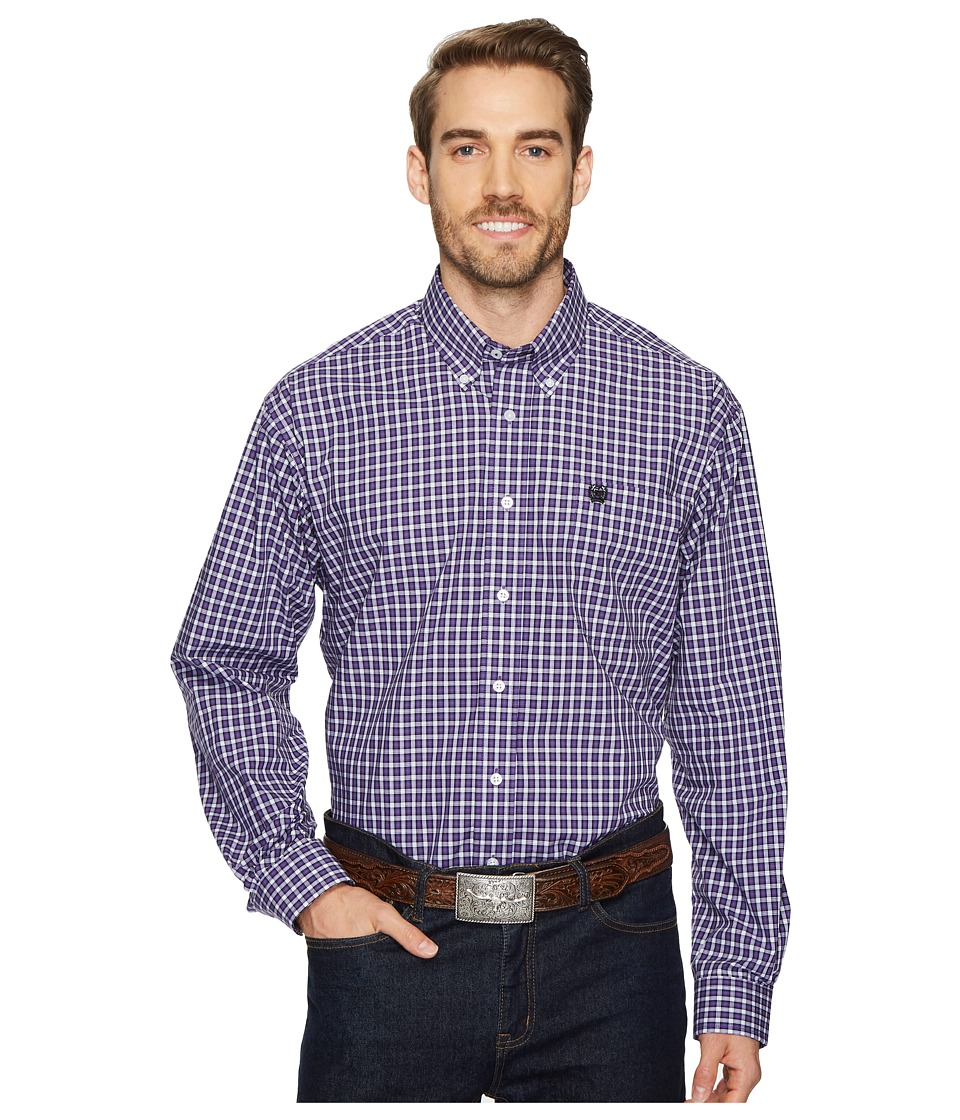 CINCH Long Sleeve Plain Weave Plaid (Purple) Men's Clothing