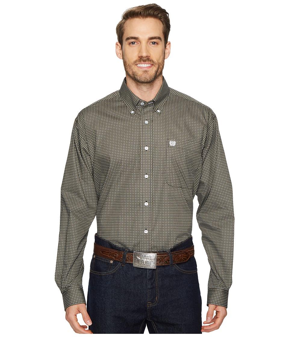 CINCH Long Sleeve Plain Weave Print (Black) Men's Clothing