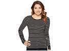 Vince Camuto Specialty Size Petite Ruched Long Sleeve Linear Step Stripe Top