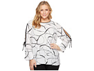 Vince Camuto Specialty Size Plus Size Flutter Cuff Split Sleeve Ink Swirl Blouse