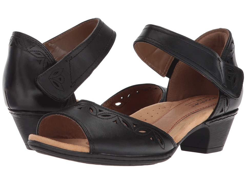 Rockport Cobb Hill Collection - Cobb Hill Abbott Two-Piece Ankle Strap (Black Leather) Womens  Shoes
