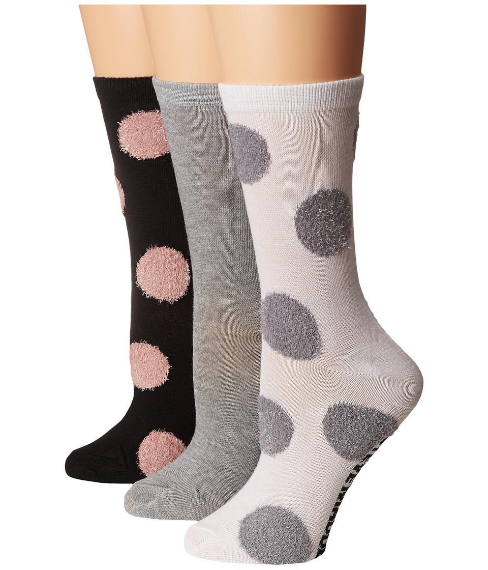 Steve Madden - 3-Pack Crew Fuzzy Yarn Polka Dot (Hunter) Womens Crew Cut Socks Shoes