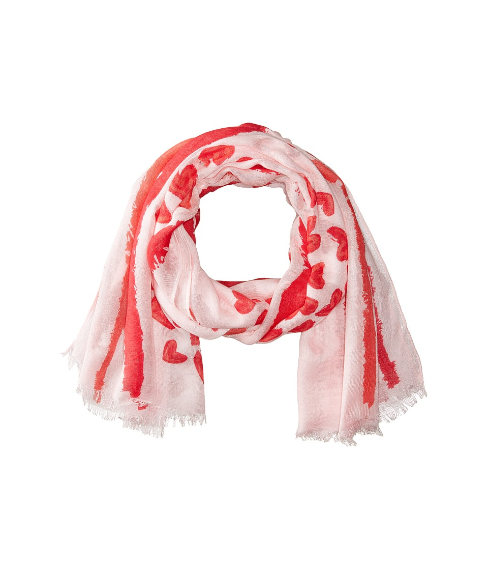 Vera Bradley - Soft Fringe Scarf (Hearts Pink) Scarves