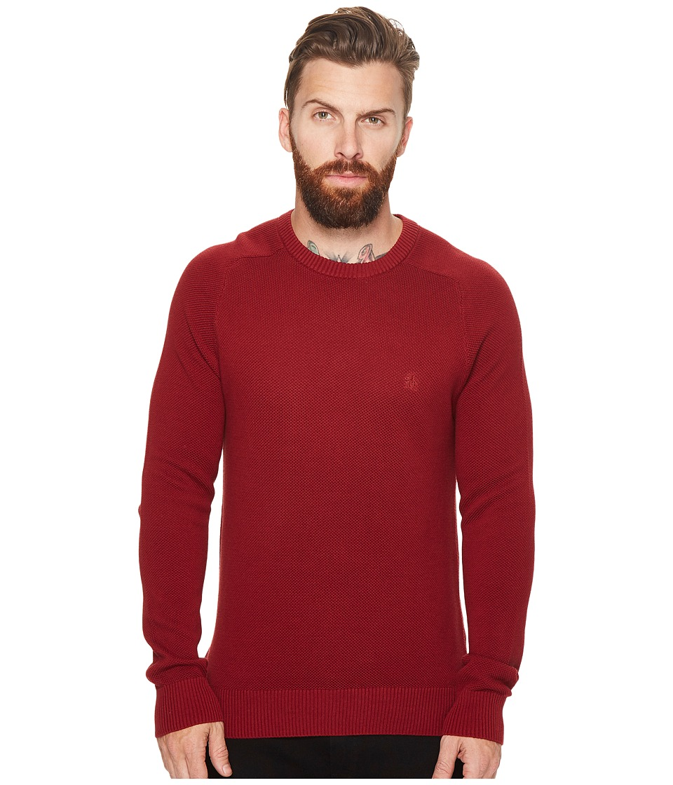 Original Penguin Long Sleeve Honeycomb Pique (Pomegranate) Men