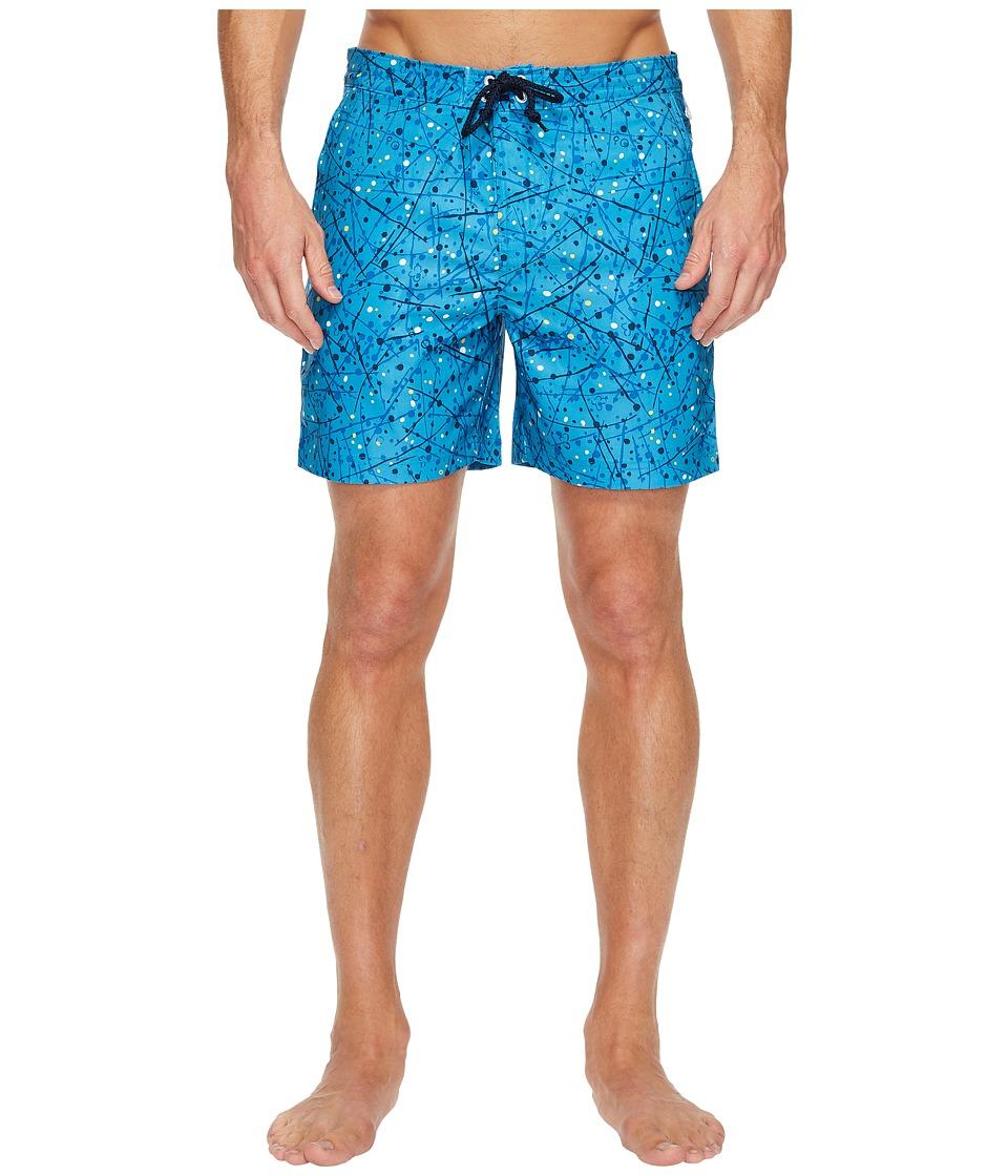 Original Penguin Splatter Paint Fixed Swim Short (Snorkel Blue) Men