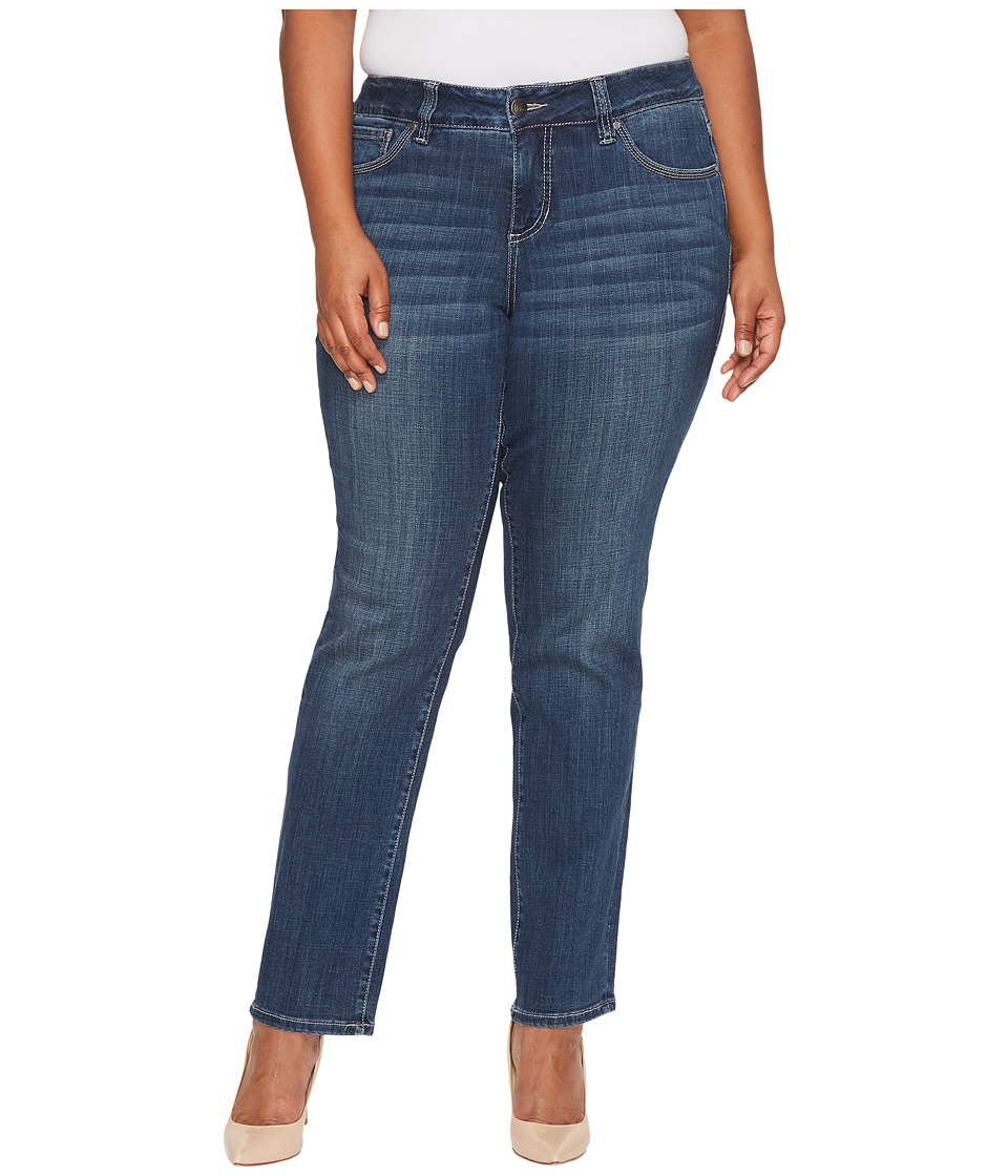 Jag Jeans Plus Size Plus Size Adrian Straight Jeans in Crosshatch Denim in Thorne Blue (Thorne Blue) Women
