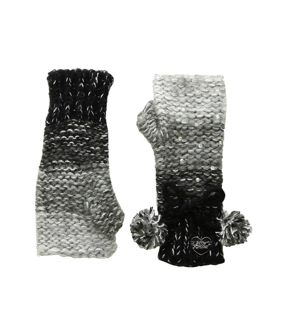 Betsey Johnson Crystal Light Knit Fingerless Gloves (Black) Dress Gloves