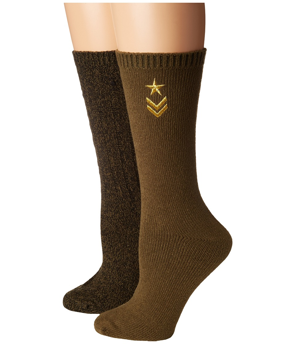 Steve Madden - 2-Pack Military Boot Sock with Star Embroidery