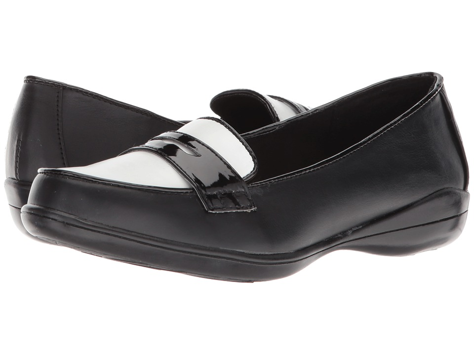 1950s Style Shoes Soft Style Daly Black VitelloWhite Vamp Womens Flat Shoes $55.00 AT vintagedancer.com