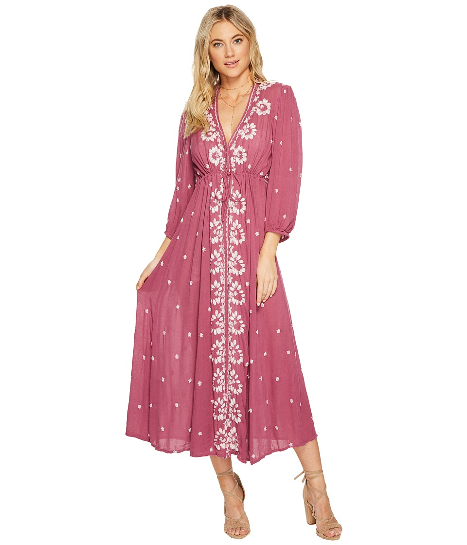 Free People Embroidered V Maxi Dress (Raspberry) Women