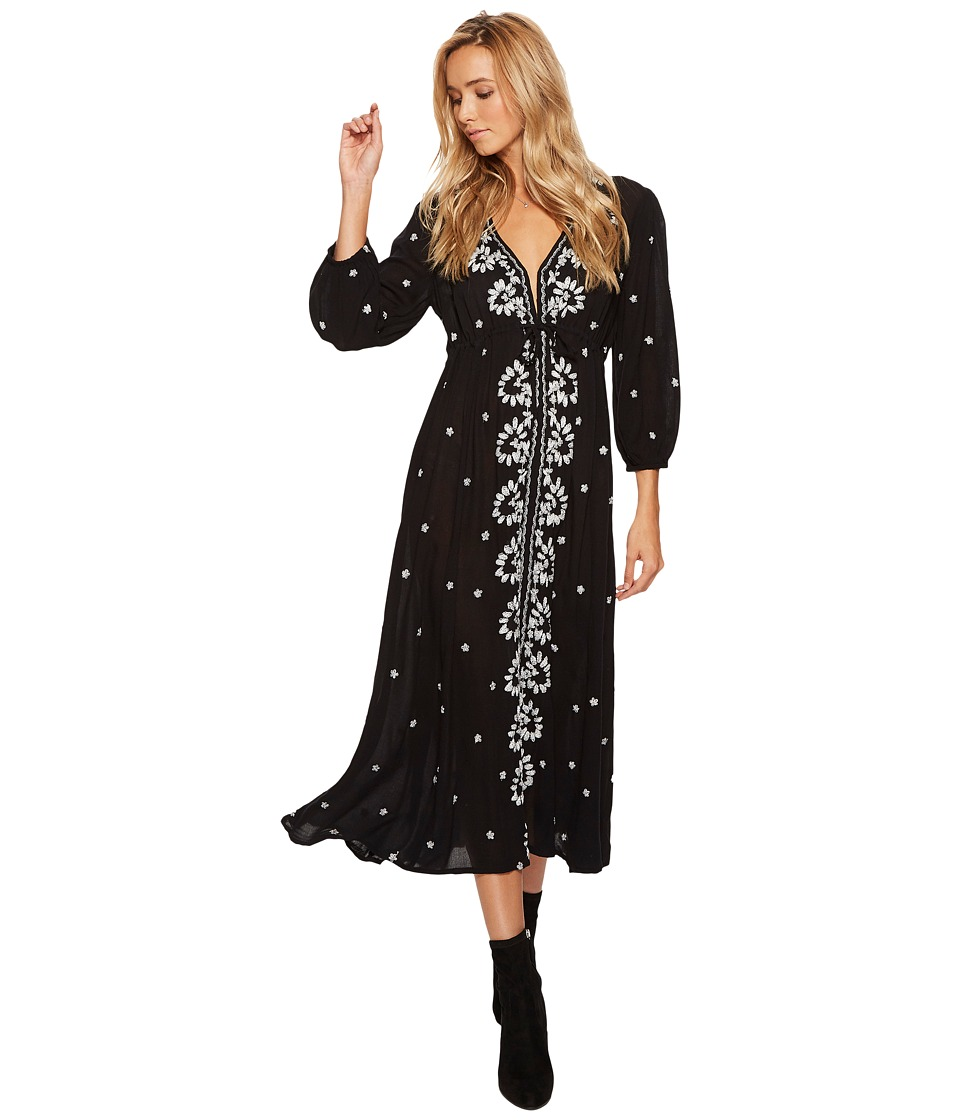 Free People Embroidered V Maxi Dress (Black) Women
