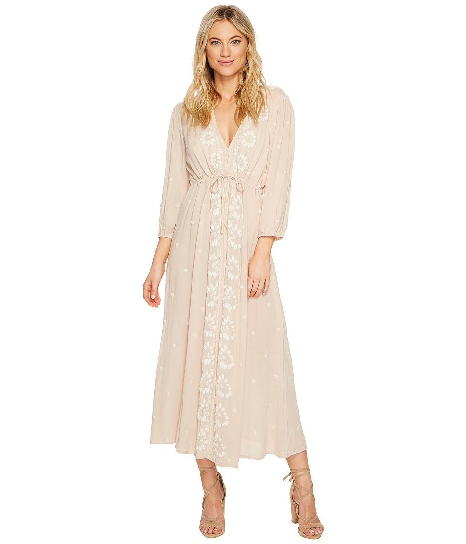 Free People Embroidered V Maxi Dress (Pink) Women