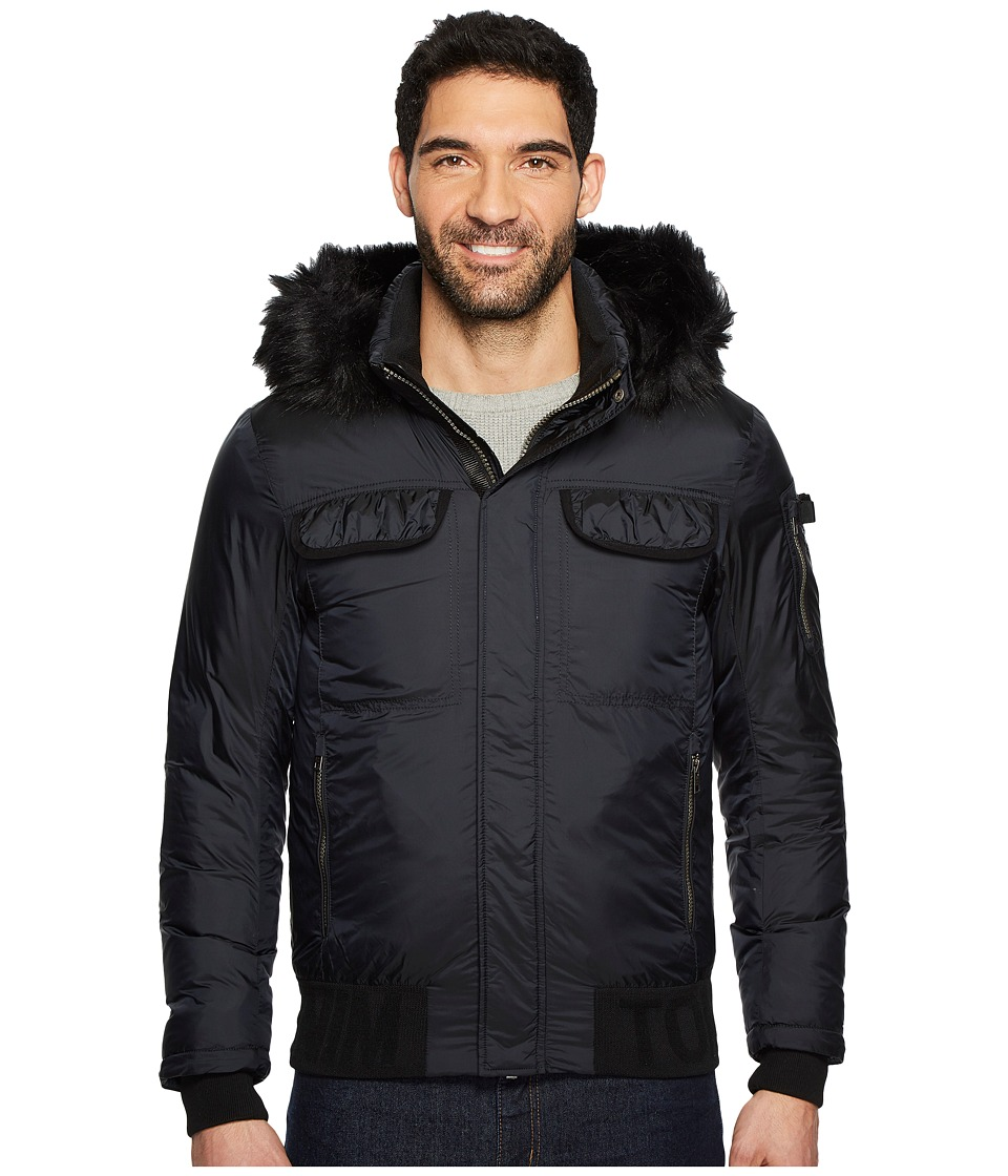 Tommy Hilfiger Denim Down Jacket with Faux Fur Hood (Tommy Black) Men